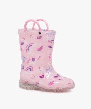 Bottes de pluie fille pailletées motif licorne avec anses vue2 - GEMO (ENFANT) - GEMO