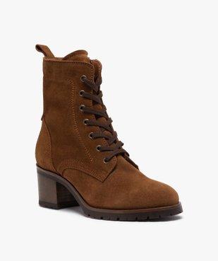 Boots femme à talon carré dessus cuir retourné uni vue2 - GEMO(URBAIN) - GEMO