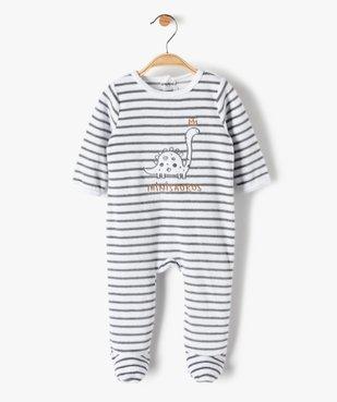 Pyjama bébé garçon en velours rayé et brodé vue1 - GEMO(BB COUCHE) - GEMO