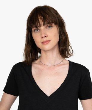 Tee-shirt femme à manches courtes et grand col V vue2 - GEMO(FEMME PAP) - GEMO
