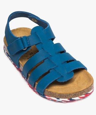 Sandales garçon unies en cuir avec bride à scratch vue5 - GEMO (ENFANT) - GEMO