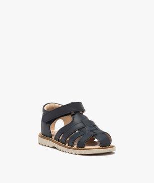 Sandales bébé en cuir à bout fermé et bride scratch vue2 - GEMO(BEBE DEBT) - GEMO