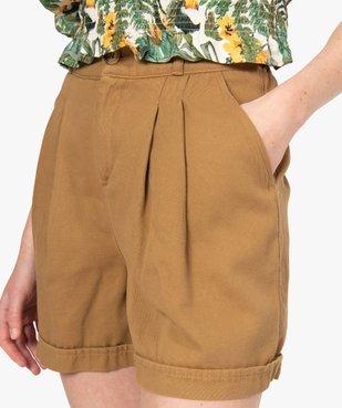 Short femme en toile coupe ample vue2 - GEMO(FEMME PAP) - GEMO