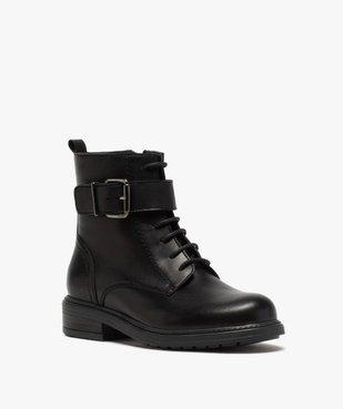 Boots fille zippées à lacets et bride décorative dessus cuir uni vue2 - GEMO (ENFANT) - GEMO
