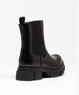 Boots femme unies style rock à semelle plateforme crantée vue4 - GEMO (CASUAL) - GEMO