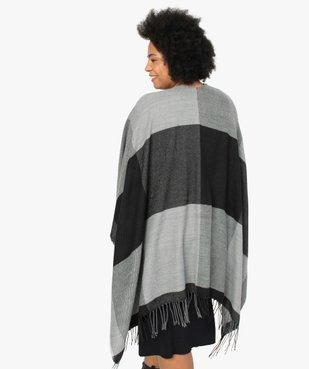 Poncho femme à larges carreaux avec finitions franges. vue3 - GEMO (ACCESS) - GEMO