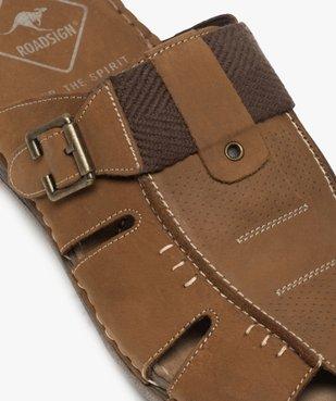 Sandales homme mules à semelle intérieure cuir - Roadsign vue6 - ROADSIGN - GEMO