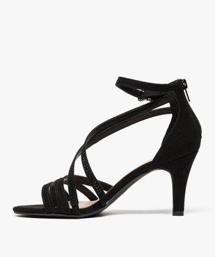 Sandales femme à talon avec fines brides brillantes vue3 - GEMO(URBAIN) - GEMO