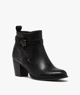 Boots femme à talon dessus multi-matières vue2 - GEMO(URBAIN) - GEMO