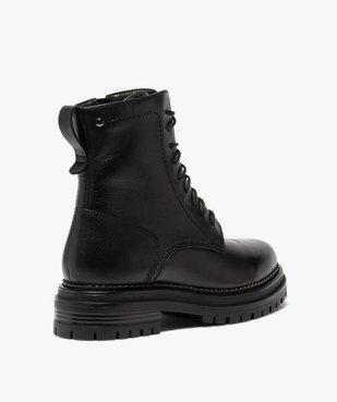 Boots femme unis style rock à lacets et semelle crantée vue4 - GEMO (CASUAL) - GEMO