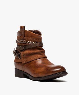 Boots femme talon plat zippés à brides décoratives vue2 - Nikesneakers (CASUAL) - Nikesneakers