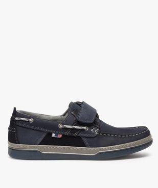 Chaussures bateau homme dessus cuir fermeture scratch vue1 - GEMO (CONFORT) - GEMO