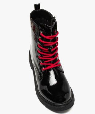 Boots femme rangers à semelle crantée lacets contrastés Dessus uni et vernis vue5 - GEMO (CASUAL) - GEMO