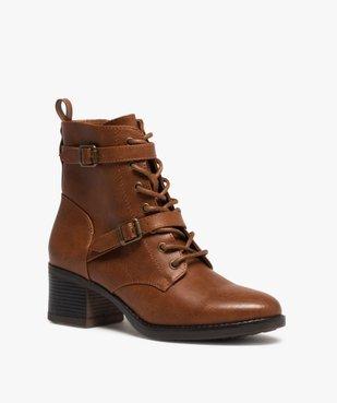 Boots femme unies à talon avec lacets et brides vue2 - GEMO(URBAIN) - GEMO
