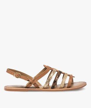 Sandales femme à talon plat et brides multiples en cuir vue2 - GEMO (CASUAL) - GEMO