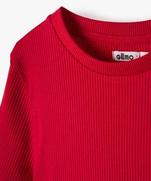 Tee-shirt fille en maille côtelée à manches courtes  vue2 - GEMO C4G FILLE - GEMO