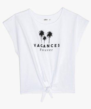 Tee-shirt fille court et oversize noué devant vue1 - GEMO (JUNIOR) - GEMO
