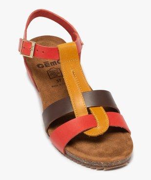 Sandales femme à brides en cuir colorées et talon compensé vue5 - GEMO (CASUAL) - GEMO