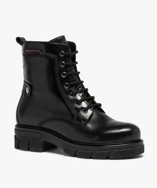 Boots femme unies à talon large et semelle crantée vue2 - Nikesneakers (CASUAL) - Nikesneakers
