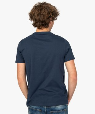 Tee-shirt homme uni à col V en coton bio   vue3 - GEMO C4G HOMME - GEMO