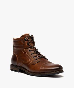 Boots homme à lacets dessus cuir et intérieur polaire vue2 - GEMO (CASUAL) - GEMO