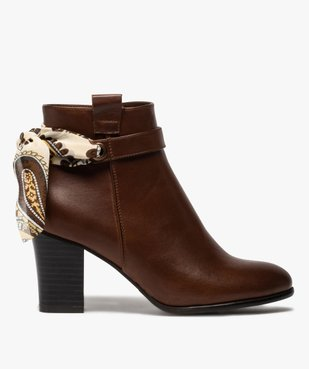 Boots femme unis à talon rainuré et ruban fantaisie vue1 - Nikesneakers(URBAIN) - Nikesneakers