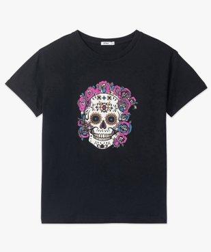 Tee-shirt femme à manches courtes avec motif tête de mort vue4 - GEMO(FEMME PAP) - GEMO