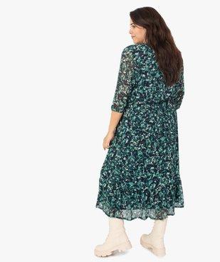 Robe femme longue imprimée à manches 3/4 vue3 - GEMO (G TAILLE) - GEMO