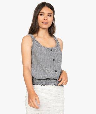 Tee-shirt femme sans manches en seersucker vichy et smocks vue1 - GEMO(FEMME PAP) - GEMO