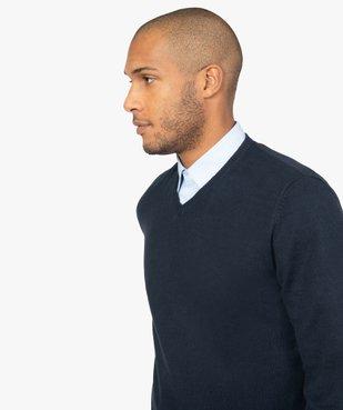 Pull homme en coton avec col V vue2 - GEMO (HOMME) - GEMO