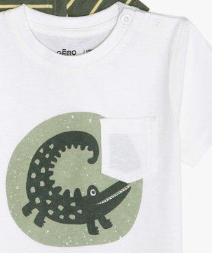 Tee-shirt bébé garçon à motifs et poche poitrine (lot de 3) rayures / crocodiles vue2 - GEMO C4G BEBE - GEMO