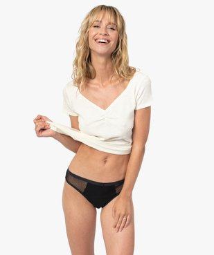 Culotte menstruelle en coton stretch et plumetis pour flux abondant - Dim Protect vue3 - DIM - GEMO