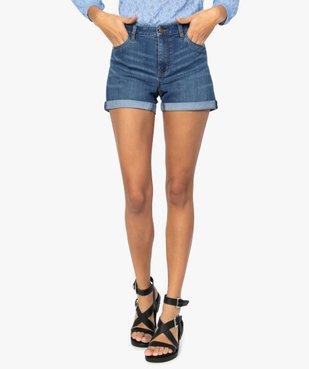 Short femme en jean avec revers cousus vue1 - GEMO(FEMME PAP) - GEMO