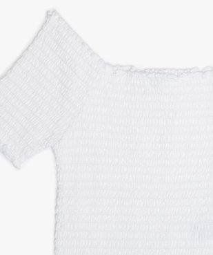 Tee-shirt court fille en smocks à manches courtes et col Bardot vue2 - GEMO (JUNIOR) - GEMO