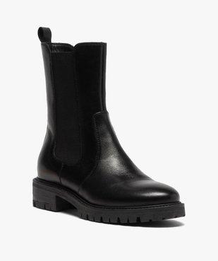 Boots femme unis style chelsea à semelle crantée vue2 - GEMO (CASUAL) - GEMO