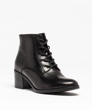 Boots femme à talon dessus cuir uni fermeture lacets vue2 - GEMO(URBAIN) - GEMO