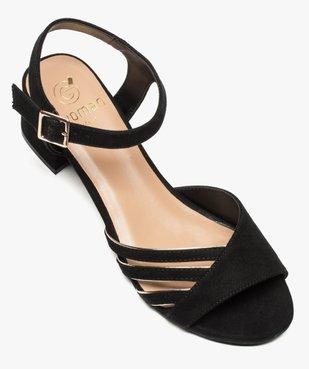 Sandales femme en suédine à petit talon carré vue5 - GEMO(URBAIN) - GEMO