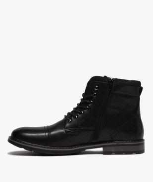 Boots homme unis doublure chaude fermeture lacets et zip vue3 - GEMO (CASUAL) - GEMO