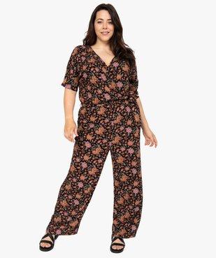 Combinaison pantalon femme à motifs fleuris et haut cache-cœur  vue2 - GEMO (G TAILLE) - GEMO