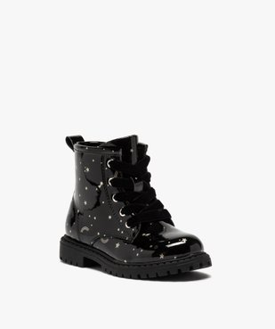 Boots fille à lacets et zip tige vernie et imprimée vue2 - GEMO (ENFANT) - GEMO