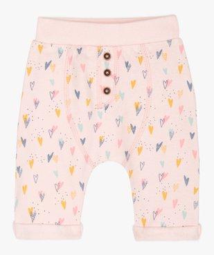 Pantalon bébé fille en maille à motifs cœurs  vue1 - GEMO(BB COUCHE) - GEMO