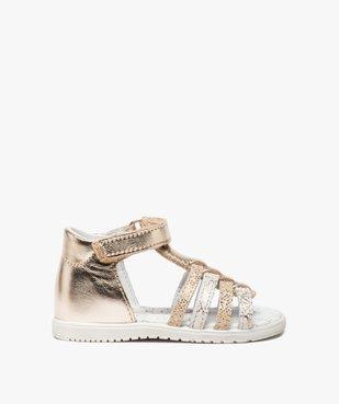 Sandales bébé fille en cuir métallisé - Bopy vue1 - BOPY - GEMO