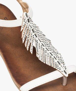Sandales femme avec feuille en strass et petit talon compensé vue6 - GEMO (CASUAL) - GEMO