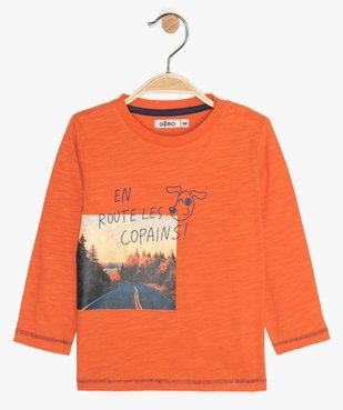 Tee-shirt bébé garçon en coton avec imprimé fantaisie vue1 - GEMO(BEBE DEBT) - GEMO