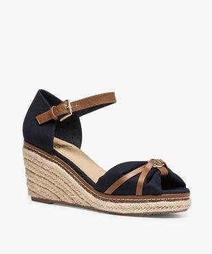 Sandales femme à talon compensé et dessus toile drapée vue2 - GEMO(URBAIN) - GEMO