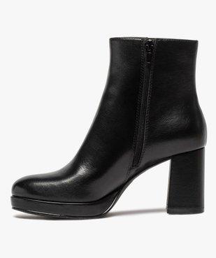 Boots femme unies à talon carré et semelle plateforme vue3 - GEMO(URBAIN) - GEMO