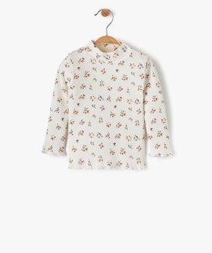 Tee-shirt bébé fille en maille côtelée à motifs fleuris vue1 - Nikesneakers C4G BEBE - Nikesneakers