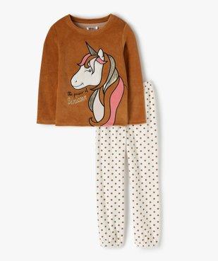 Pyjama fille velours motif licorne brillant vue1 - GEMO (ENFANT) - GEMO