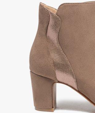 Boots femme à talon unis dessus suédine et textile brillant vue6 - GEMO(URBAIN) - GEMO