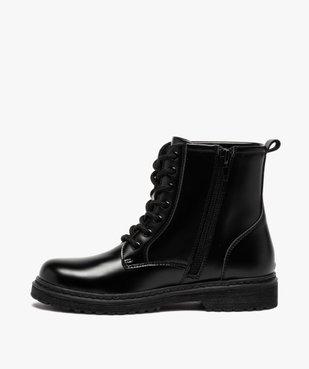 Boots fille unis à semelle crantée fermeture lacets et zip vue3 - GEMO (ENFANT) - GEMO